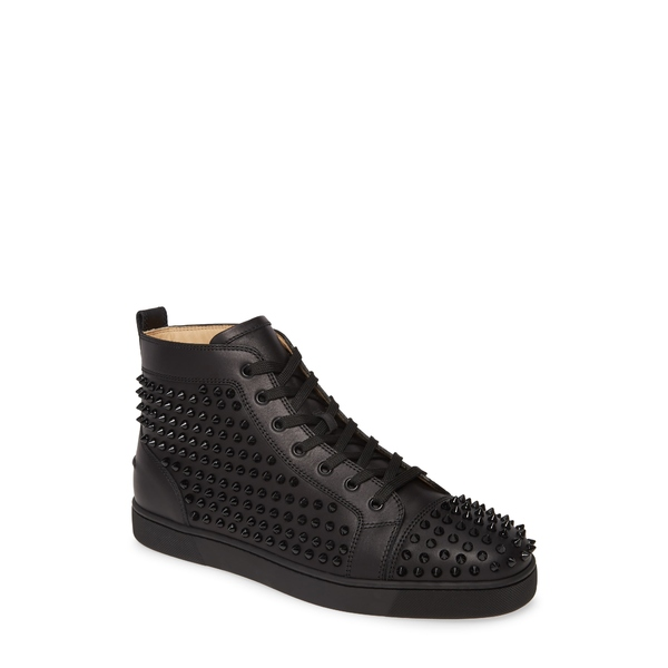クリスチャン・ルブタン メンズ スニーカー シューズ Louis Allover Spikes High Top Sneaker Black/Black