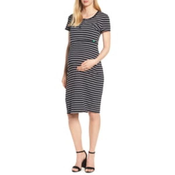 モダーンエターニティ レディース ワンピース トップス Maternity/Nursing Henley T-Shirt Dress Black/ Grey