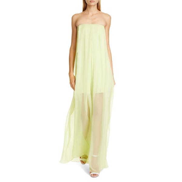 クシュニーエオクス レディース ワンピース トップス Sheer Leg Strapless Silk Chiffon Jumpsuit Celery