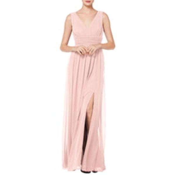 レブコフ レディース ワンピース トップス V-Neck Pleat Chiffon A-Line Gown Petal Pink