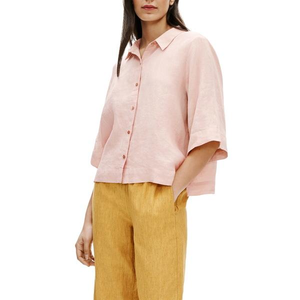 エイリーンフィッシャー レディース シャツ トップス Boxy Organic Linen Button-Up Shirt Powder
