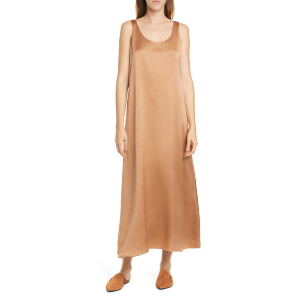 エイリーンフィッシャー レディース ワンピース トップス Scoop Neck Silk Dress Amber