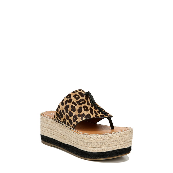 サルトバイフランコサルト レディース サンダル シューズ Malia Espradrille Wedge Genuine Calf Hair Slide Sandal Leopard Print Calf Hair