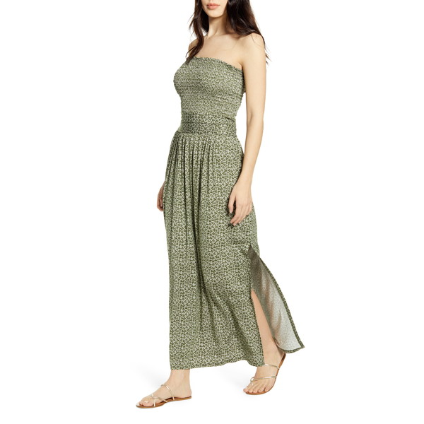 ビーピー レディース ワンピース トップス Strapless Smocked Maxi Dress Green Cypress Clover