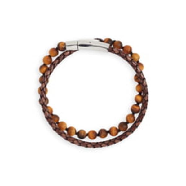 ジョナススタジオ メンズ ブレスレット・バングル・アンクレット アクセサリー Hand Knotted Tiger's Eye & Leather Bracelet Brown