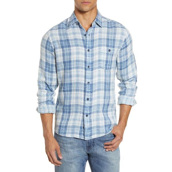 ファエティ メンズ シャツ トップス Seaview Plaid Button-Up Shirt Indigo Nautilus Plaid