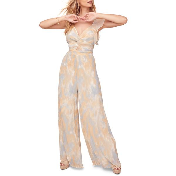 アストール レディース ワンピース トップス Golden Hour Wide Leg Jumpsuit Peach-Blue Tie Dye