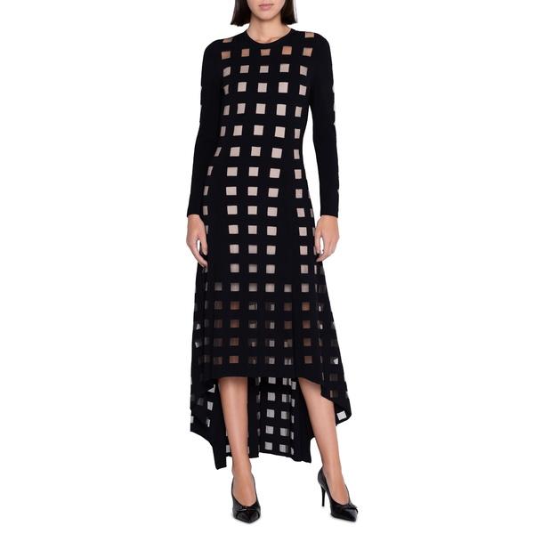 アクリス レディース ワンピース トップス Geo Cutout Long Sleeve High/Low Dress Black
