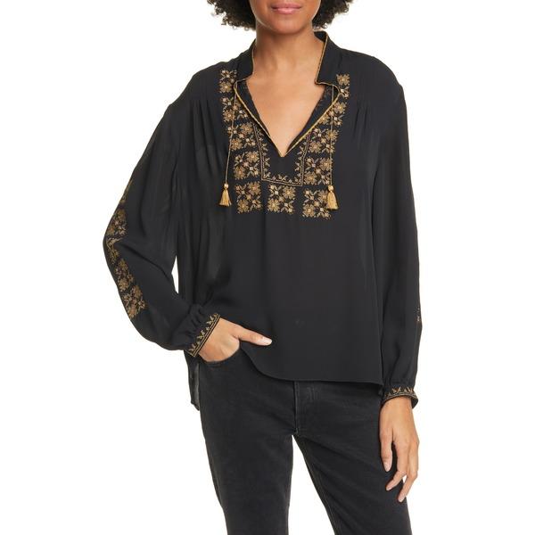 ニリロータン レディース シャツ トップス Karina Embroidered Silk Blouse Black W/ Gold Embroidery