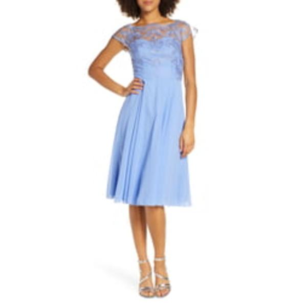 チチロンドン レディース ワンピース トップス Simoni Embroidered Chiffon Cocktail Dress Blue