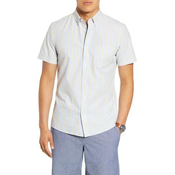 ワンナインオーワン メンズ シャツ トップス Slim Fit Stripe Short Sleeve Button-Down Shirt Blue Yellow Heather Stripe