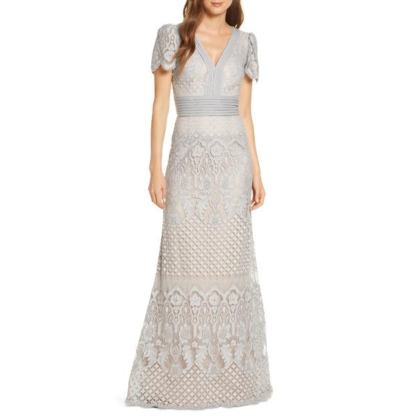 タダシショージ レディース ワンピース トップス Embroidered Lace Evening Gown Pewter/Petal