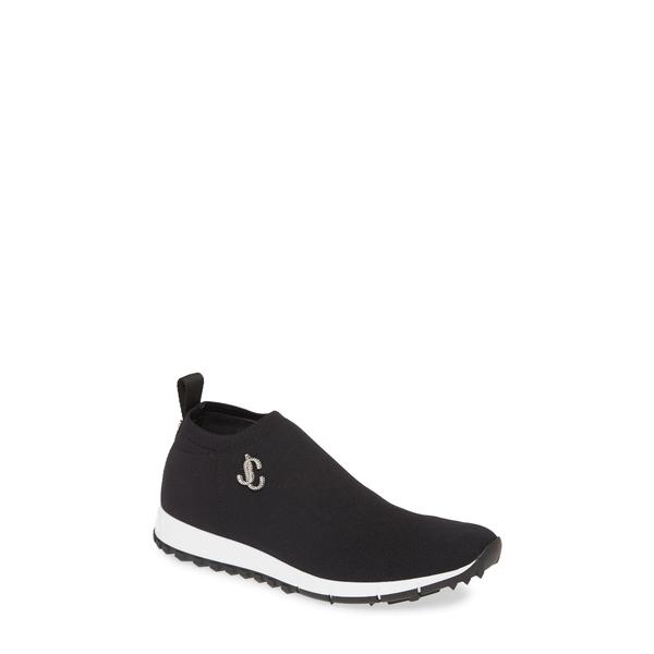 ジミーチュウ レディース スニーカー シューズ Norway Crystal Logo Knit Sneaker Black