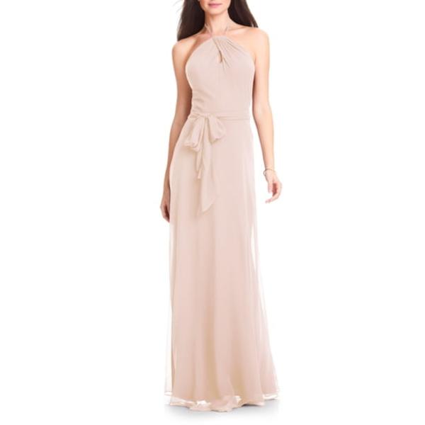 レブコフ レディース ワンピース トップス Halter Chiffon A-Line Gown Pink