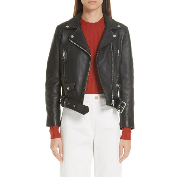 アクネ ストゥディオズ レディース ジャケット&ブルゾン アウター Mock Core Leather Moto Jacket Black
