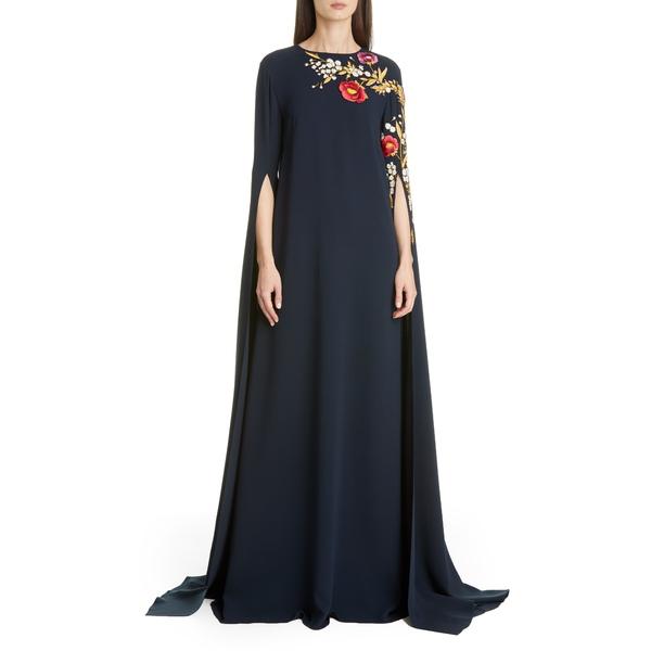 オスカー デ ラ レンタ レディース ワンピース トップス Embroidered Cape Sleeve Stretch Silk Dress Navy