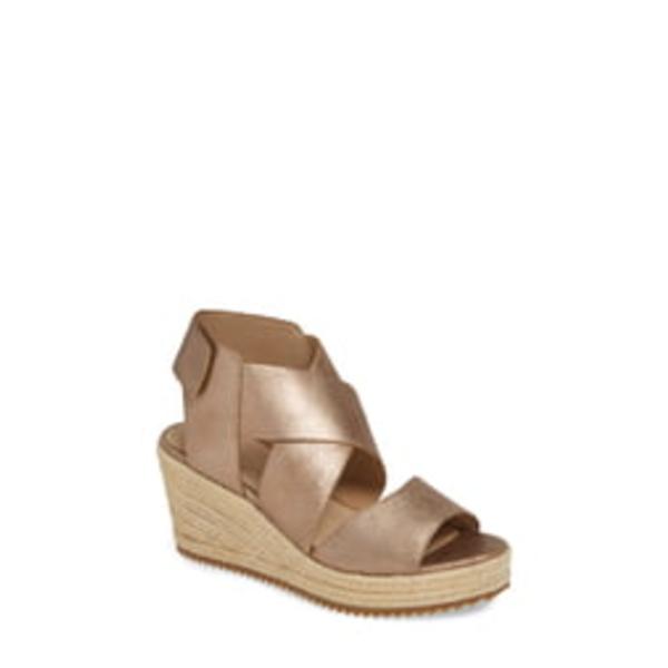 エイリーンフィッシャー レディース サンダル シューズ 'Willow' Espadrille Wedge Sandal Bronze/ Bronze Leather