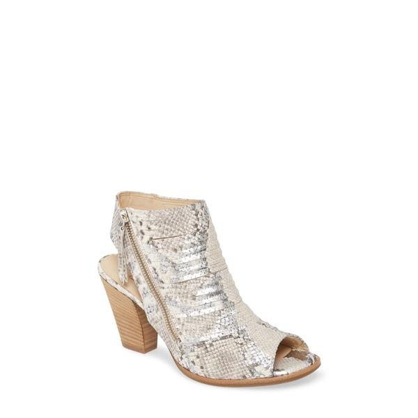 ポール・グリーン レディース サンダル シューズ 'Cayanne' Leather Peep Toe Sandal Silver/ Pebble Snake Print