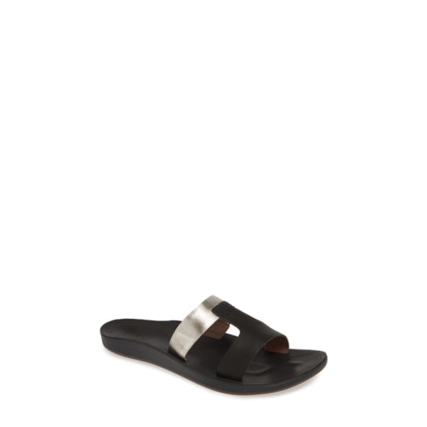 オルカイ レディース サンダル シューズ Kaekae Lili Slide Sandal Black/ Silver Leather
