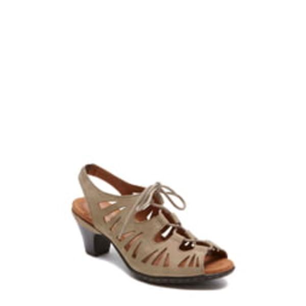 ロックポートコブヒル レディース サンダル シューズ Cobb Hill 'Sasha' Caged Leather Peep Toe Sandal Khaki Nubuck Leather