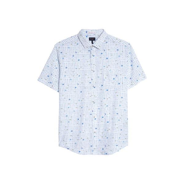 グッドマンブランド メンズ シャツ トップス On Point Slim Fit Short Sleeve Button-Up Shirt White Wrap Dot Floral
