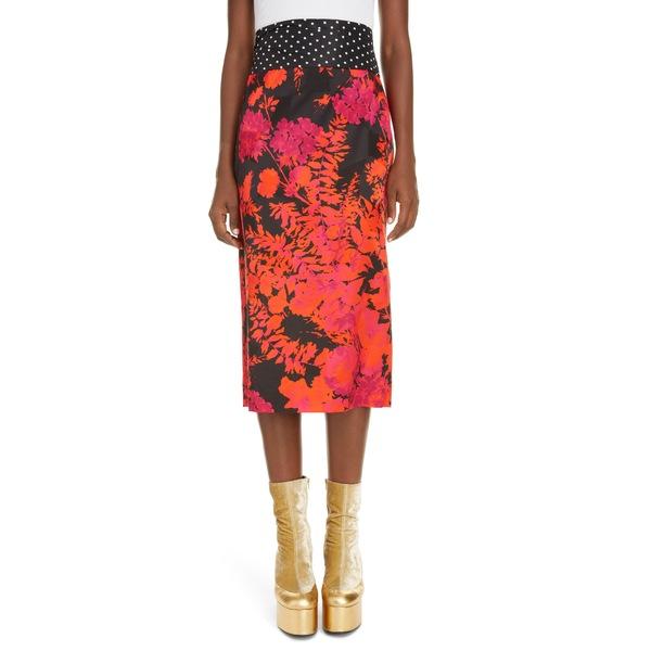 ドリス・ヴァン・ノッテン レディース スカート ボトムス Sarai Floral & Dot Cotton Blend Pencil Skirt Red