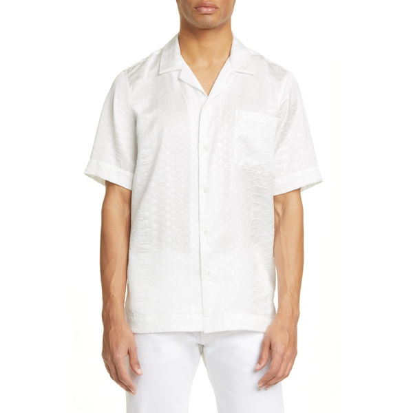 ドリス・ヴァン・ノッテン メンズ シャツ トップス Carltone Croc Embossed Short Sleeve Button-Up Shirt White