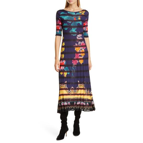 エトロ レディース ワンピース トップス Floral Print Rib Midi Sweaterdress Navy