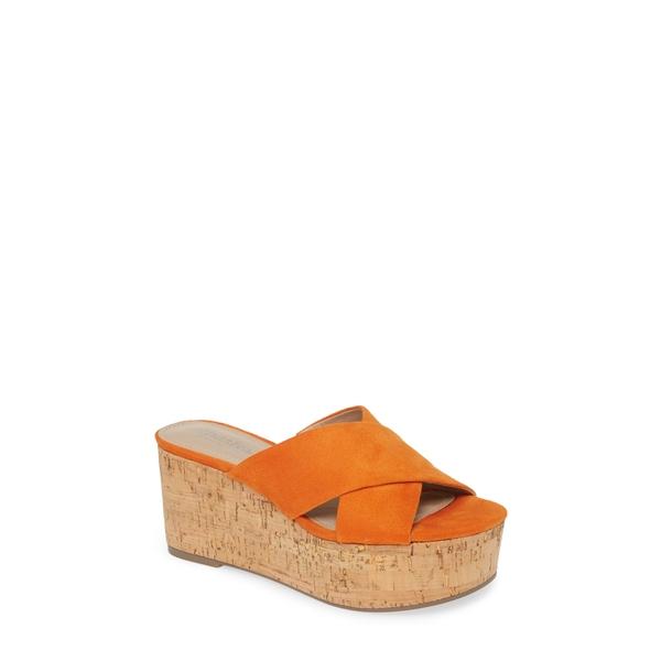 チャールズ・デイビッド レディース サンダル シューズ Civil Platform Wedge Slide Sandal Orange Fabric