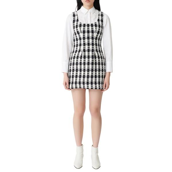 マージュ レディース ワンピース トップス Rocky Cotton Blend Tweed Minidress Black / White