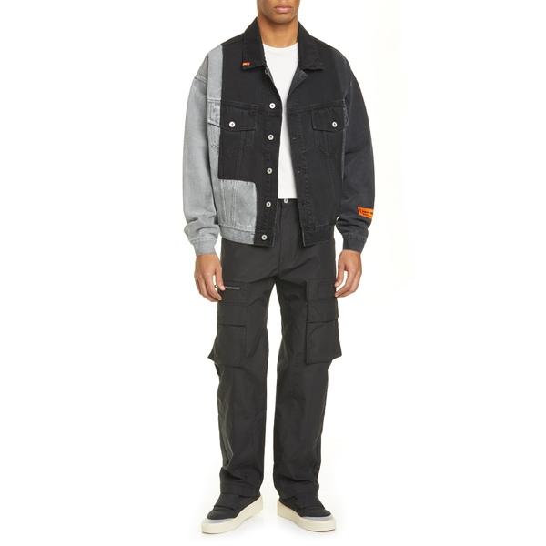 ヘロン プレストン メンズ ジャケット&ブルゾン アウター Patchwork Denim Jacket Black Orange