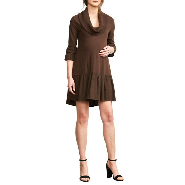 マターナルアメリカ レディース ワンピース トップス Cowl Neck Maternity Dress Chocolate