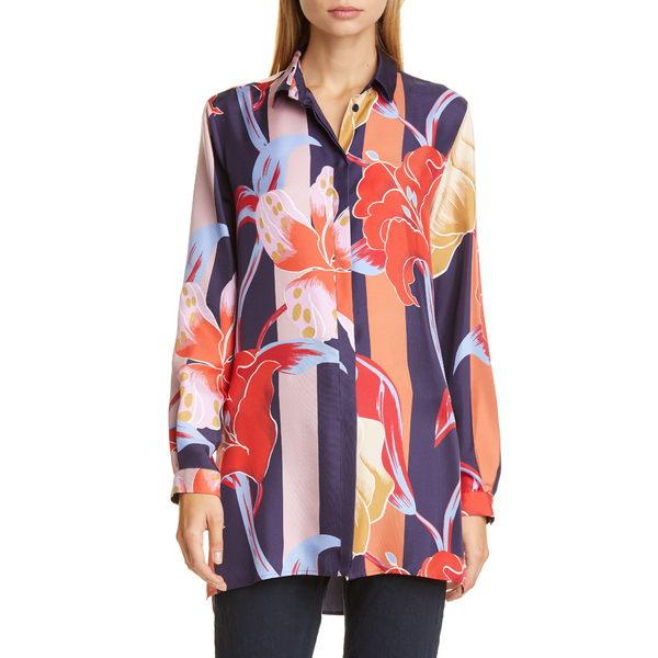 エトロ レディース シャツ トップス Large Lily Print Silk Tunic Shirt Navy