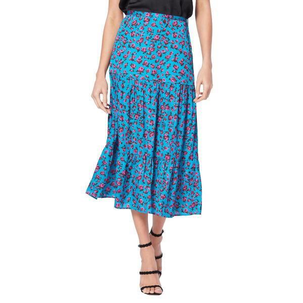 ペイジ レディース スカート ボトムス Bestia Floral Midi Skirt Neon Blue/ Meadow Mauve