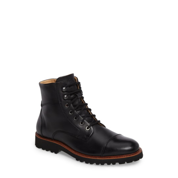 サミュエルフドバード メンズ ブーツ&レインブーツ シューズ Uptown Maverick Cap Toe Boot Black Leather