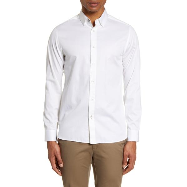 テッドベーカー メンズ シャツ トップス Bobcut Slim Fit Button Up Sport Shirt White