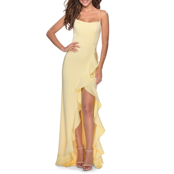 ラフェム レディース ワンピース トップス Flutter Slit Trumpet Gown Pale Yellow