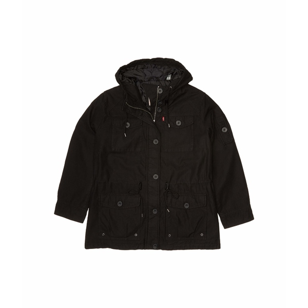 リーバイス レディース コート アウター Plus Size Hooded Cotton Military Parka Jacket Black