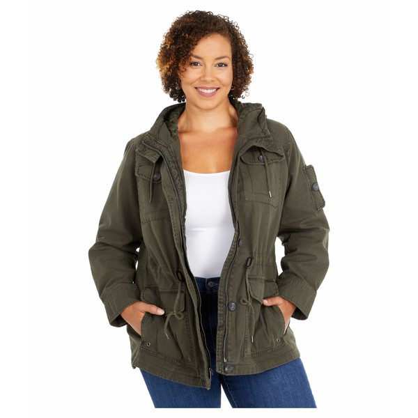 リーバイス レディース コート アウター Plus Size Hooded Cotton Military Parka Jacket Army Green