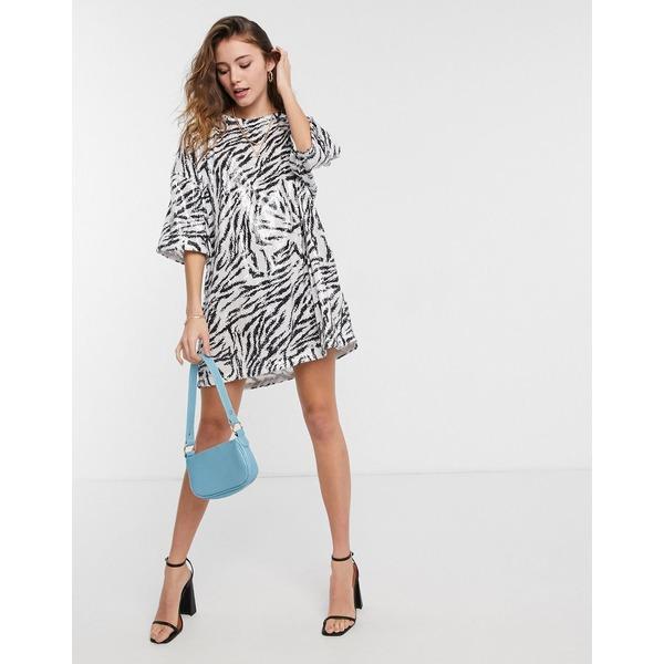 ストア エイソス レディース トップス ワンピース 専門店 Zebra print 全商品無料サイズ交換 ASOS in dress sequin oversized t-shirt zebra DESIGN