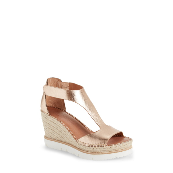 ケネスコール レディース サンダル シューズ Elyssa T-Strap Wedge Sandal Rose Gold Metallic Leather