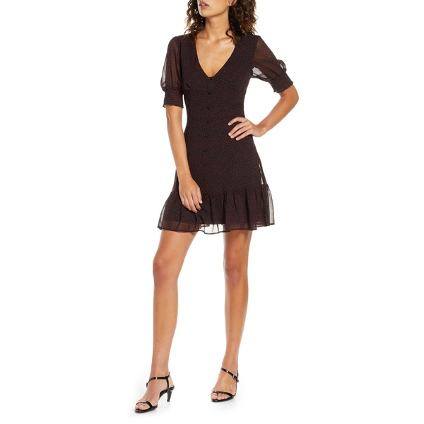 ビービーダコタ レディース ワンピース トップス BB Dakota Printed Chiffon Minidress Black