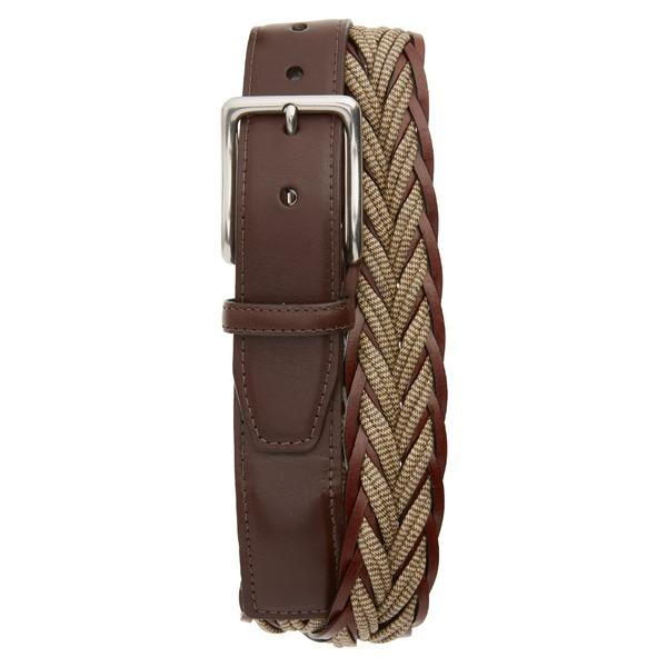 トリノ メンズ ベルト アクセサリー Torino Braided Cotton & Leather Belt Camel/ Brown