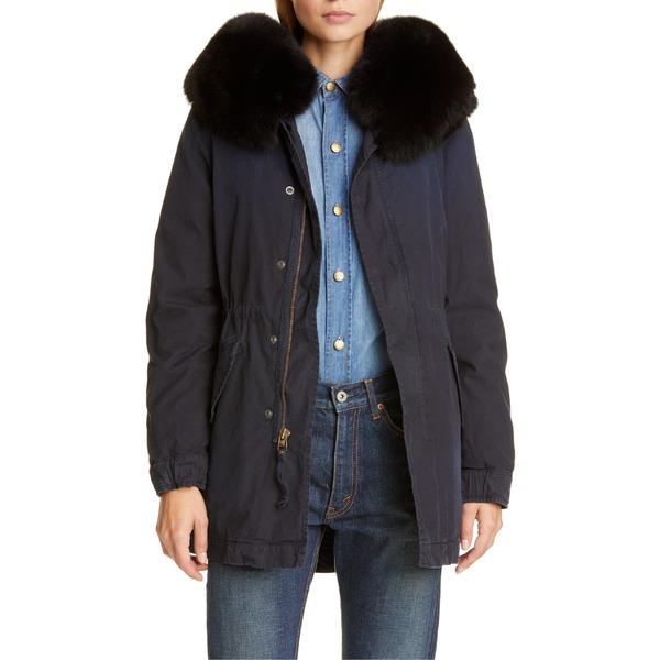 ミスター&ミセス・イタリー レディース ジャケット&ブルゾン アウター Mr & Mrs Italy Hooded Cotton Parka with Removable Genuine Fox Fur Trim Midnight Blue
