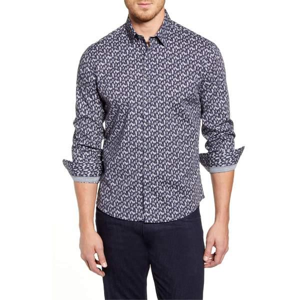 ストーンローズ メンズ シャツ トップス Stone Rose Regular Fit Tree Print Button-Up Sport Shirt Navy
