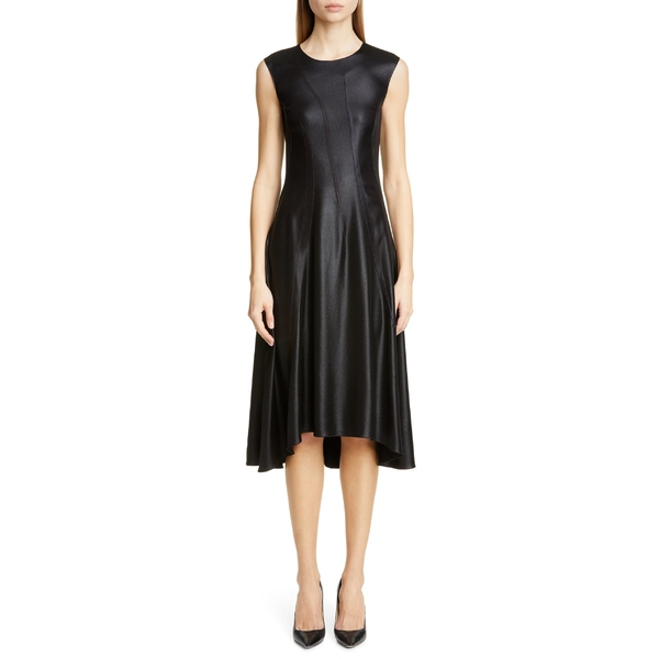 シエス・マルジャン レディース ワンピース トップス Sies Marjan Hammered Silk Satin Midi Dress Black