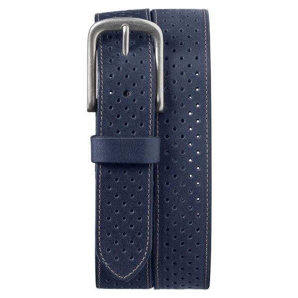 トラスク メンズ ベルト アクセサリー Trask Denton Perforated Leather Belt Navy