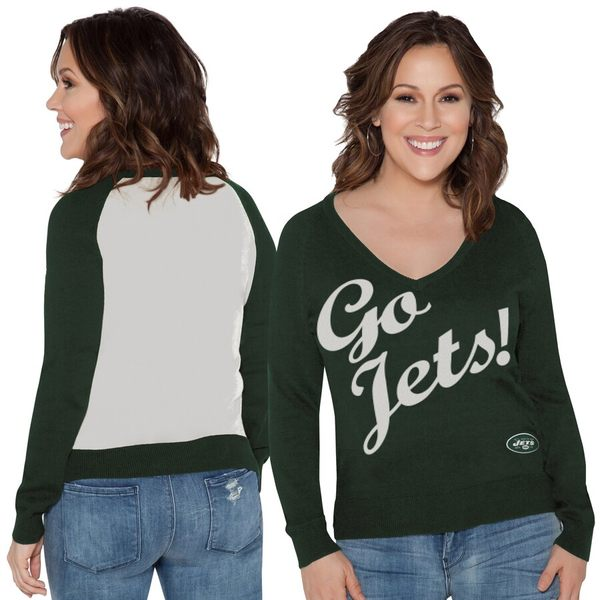 アリッサミラノ レディース シャツ トップス New York Jets Touch by Alyssa Milano Women's Plus Size MVP V-Neck Pullover Sweater Green