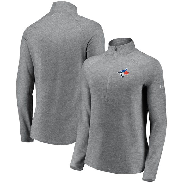 アンダーアーマー レディース ジャケット&ブルゾン アウター Toronto Blue Jays Under Armour Women's Passion Alternate Performance Tri-Blend Raglan Half-Zip Pullover Jacket Heathered Gray