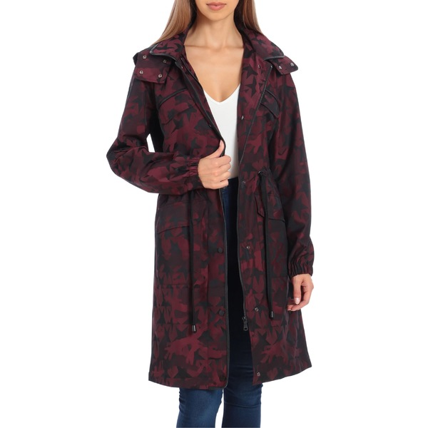アベックレフィレ レディース コート アウター Avec Les Filles Water Resistant Raincoat with Removable Hood Burgundy